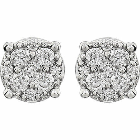 14 KT White Gold 1/6 Carat Total Weight Diamond Cluster Friction Post Earrings