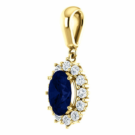 14KT Yellow Gold Chatham Created Blue Sapphire & 1/3 Carat Total Weight Diamond Pendant