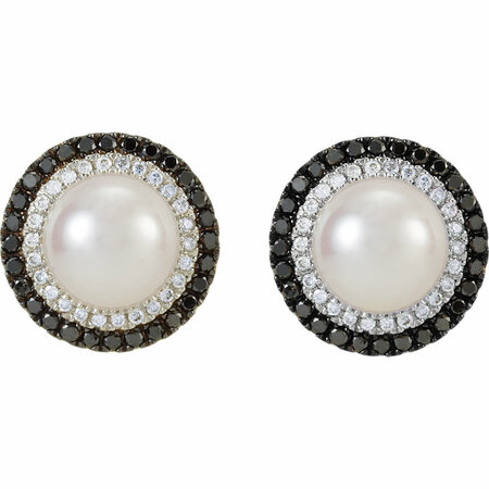 14KT White Gold Freshwater Cultured Pearl with 1/2 Carat Total Weight Black & White Diamond Earrings