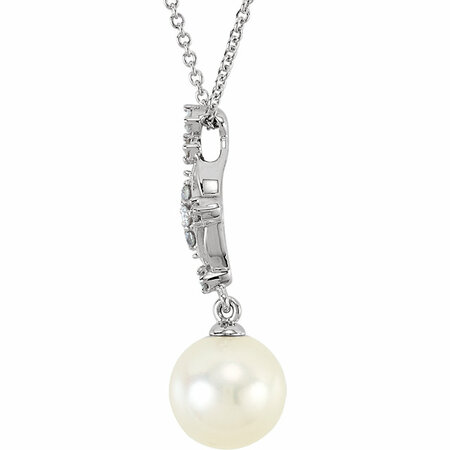 14KT White Gold .01 Carat Total Weight Diamond and Freshwater Cultured Pearl 18