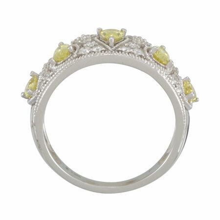 14KT White Gold Canary Yellow Sapphire & 1/3 Carat Total Weight Diamond Ring