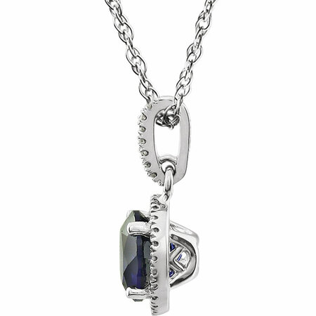 14KT White Gold Created Blue Sapphire & 1/10 Carat Total Weight Diamond 18