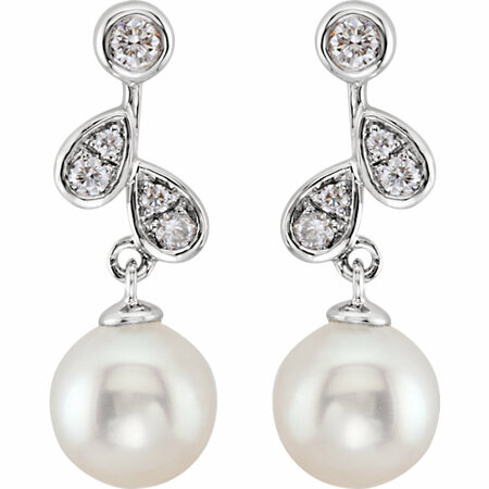 14KT White Gold 1/6 Carat Total Weight Diamond & Freshwater Cultured Pearl Earrings