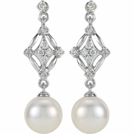 14KT White Gold 1/6 Carat Total Weight Diamond and Freshwater Cultured Pearl Earrings
