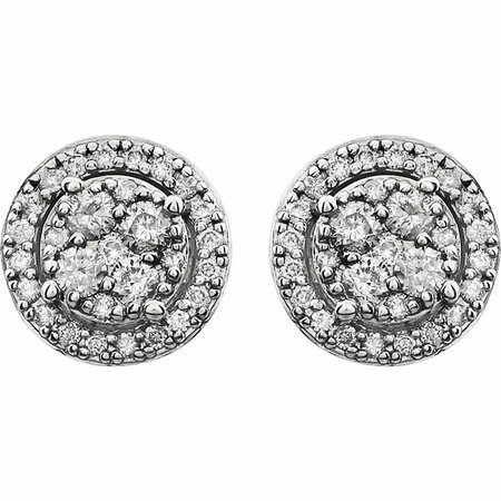 14 KT White Gold 1/2 Carat Total Weight Diamond Halo-Style Cluster Earrings