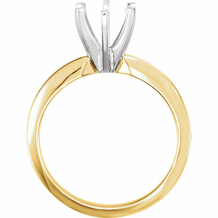 18K Yellow & Platinum 4-4.1 mm Round Heavy 6-Prong Engagement Ring Mounting