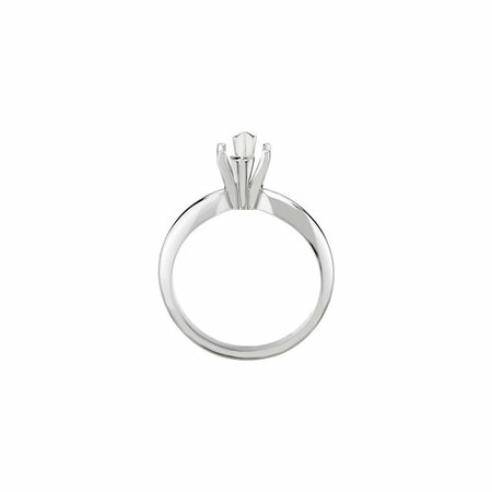18K White & Platinum 6-Prong Marquise V-End Heavy Solitaire Engagement Ring