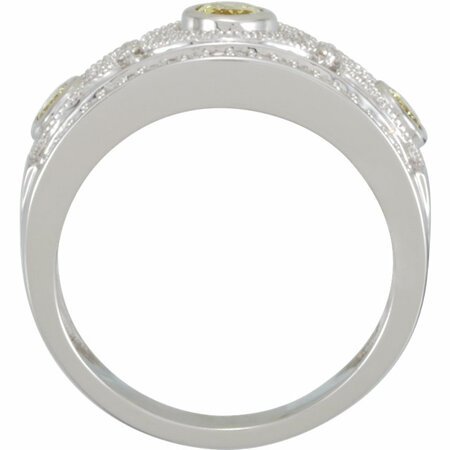 14KT White Gold Canary Yellow Sapphire & 1/4 Carat Total Weight Diamond Ring