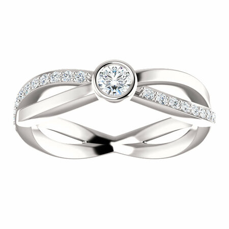 14 KT White Gold 1/3 Carat Total Weight Diamond Infinity-Style Ring