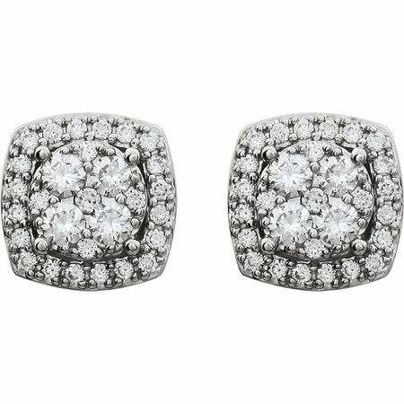 14 KT White Gold 3/4 Carat Total Weight Diamond Earrings