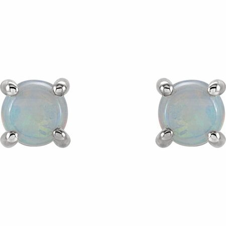 14KT White Gold 5mm Round Opal Cabochon Earrings