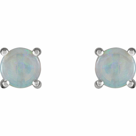 14KT White Gold 6mm Round Opal Cabochon Earrings