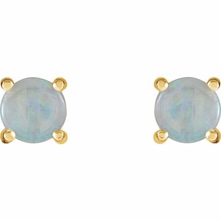 14KT Yellow Gold 6mm Round Opal Cabochon Earrings