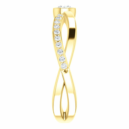 14 KT Yellow Gold 1/3 Carat Total Weight Diamond Infinity-Style Ring