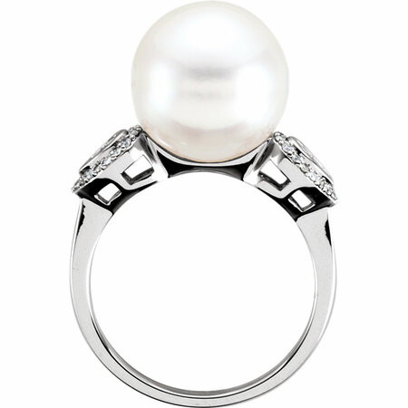 14KT White Gold 12mm South Sea Cultured Pearl & 1/6 Carat Total Weight Diamond Ring