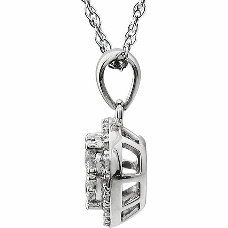 14 KT White Gold 3/8 Carat Total Weight Halo-Style Diamond Heart 18