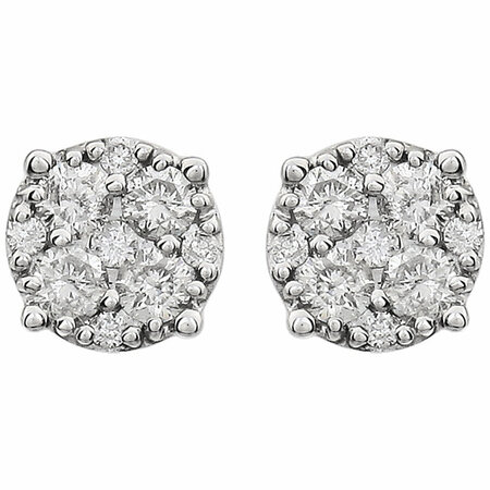 14 KT White Gold 3/8 Carat Total Weight Diamond Cluster Friction Post Earrings
