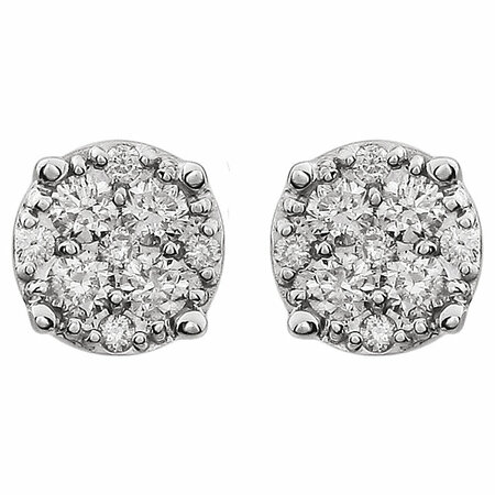 14 KT White Gold 1/4 Carat Total Weight Diamond Cluster Friction Post Earrings