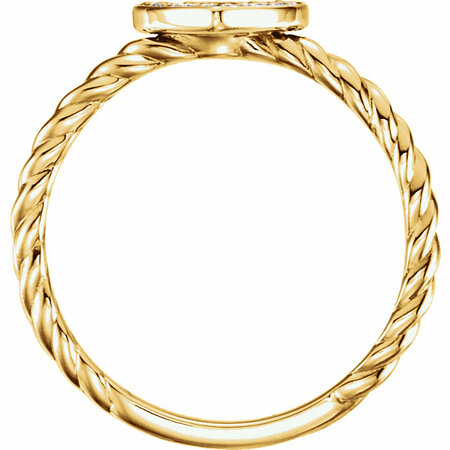 14 KT Yellow Gold 1/8 Carat Total Weight Diamond Heart Rope Ring