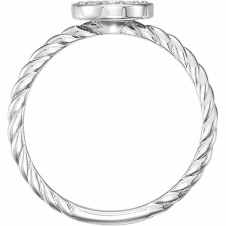 14 KT White Gold 1/6 Carat Total Weight Diamond Cluster Rope Ring