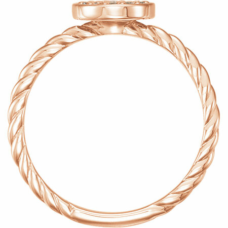 14 KT Rose Gold 1/6 Carat Total Weight Diamond Cluster Rope Ring
