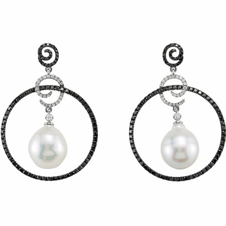 14KT White Gold South Sea Cultured Pearl & 2 1/2 CTW Black & White Diamond Earrings