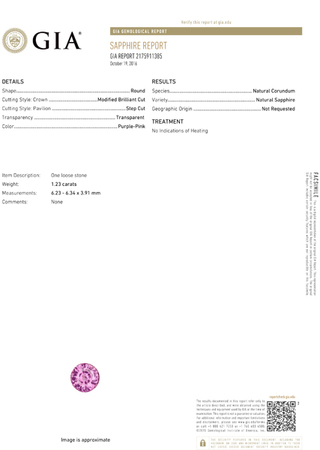 No Heat  Vibrant Pink Ceylon Sapphire Loose Gem in Round Cut, 6.2 x 6.3 mm, 1.23 Carats - With GIA Certfiicate - SOLD