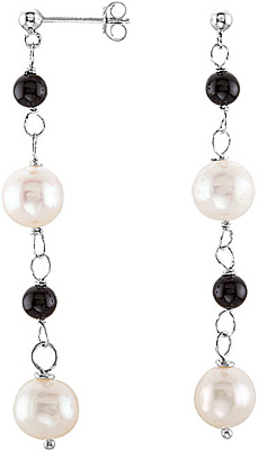Long Post Back Sterling Silver Dangle Earrings With 8mm Pearl & 4mm Onyx Beads - SOLD