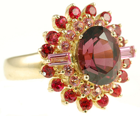 Gorgeous Sunburst Ring - Large Rhodolite Garnet with Spinel & Sapphire accents - SOLD