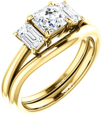 Classic 3-Stone Ring With Emerald Cut Side Gems - For Asscher Center Gem Sized 5.00 mm to 7.00 mm - Customize Metal, Accents or Gem Type