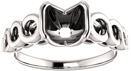 Chic Accented Engagement Ring Mounting For Asscher Shape Centergem Sized 5.00 mm to 7.00 mm - Customize Metal, Accents or Gem Type