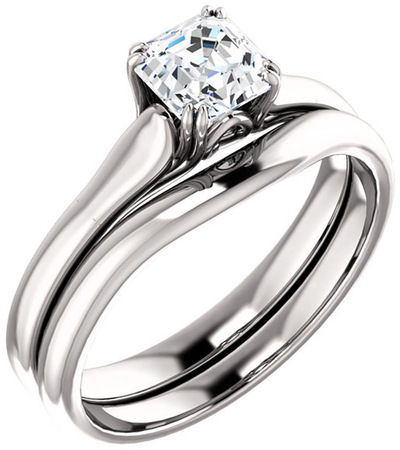 Asscher Solitaire Engagement Ring For Shape Centergem Sized 5.00 mm to 7.00 mm - Customize Metal, Accents or Gem Type