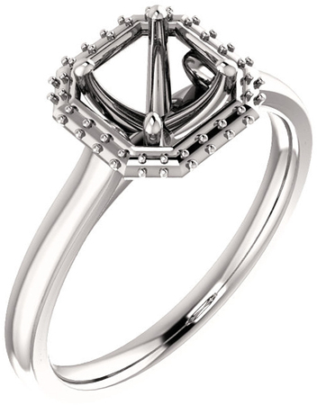 Asscher Halo Style Engagement Ring Mounting for 5.00 mm - 7.00 mm Center - Customize Metal, Accents or Gem Type