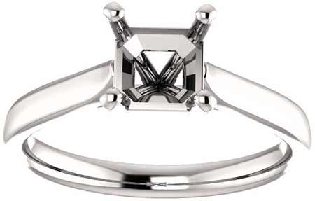 Elegant Solitaire Ring Mounting for Asscher Shape Centergem Sized 5.00 mm to 7.00 mm - Customize Metal, Accents or Gem Type