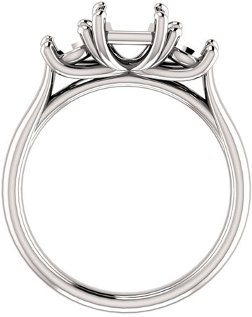 Three Stone Ring for Asscher Shape Centergem Sized 5.00 mm to 10.00 mm - Customize Metal, Accents or Gem Type