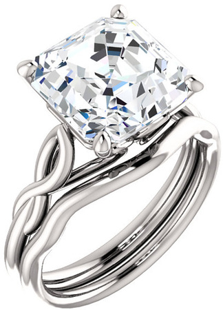 Twisted Band Solitaire Ring Mounting for Asscher Shape Centergem Sized 5.00 mm to 10.00 mm - Customize Metal, Accents or Gem Type