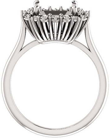 Regal Halo Style Engagment Ring for Asscher Shape Centergem Sized 5.00 to 10.00 mm - Customize Metal, Accents or Gem Type