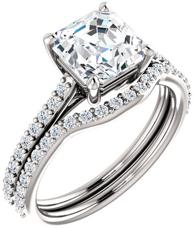 Accented Solitaire Engagement Ring for Asscher Shape Centergem Sized 5.00 mm to 7.00 mm - Customize Metal, Accents or Gem Type