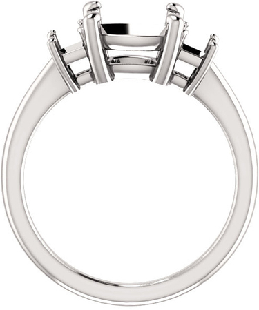 Classic 3-Stone Ring With Emerald Cut Side Gems - For Cushion Center Gem Sized 6.00 mm to 10.00 mm - Customize Metal, Accents or Gem Type