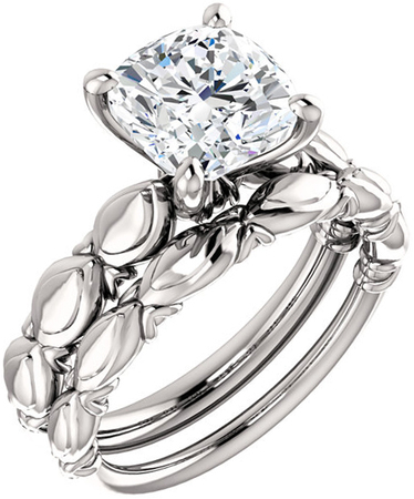 Sculptural Solitaire Engagement Ring Mounting For Cushion Shape Centergem Sized 5.00 mm to 8.00 mm - Customize Metal, Accents or Gem Type