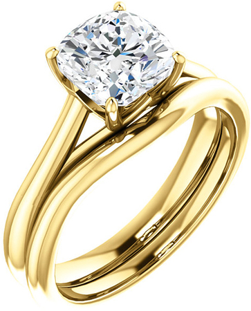 Cushion Solitaire Engagement Ring Mounting for 5.00 mm - 9.00 mm Center - Customize Metal, Accents or Gem Type