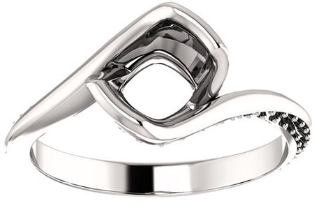 Bypass Style Engagement Ring With Accents for Cushion Shape Centergem Sized 5.00 mm to 9.00 mm - Customize Metal, Accents or Gem Type