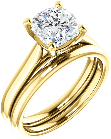 Elegant Solitaire Ring Mounting for Cushion Shape Centergem Sized 5.00 mm to 10.00 mm - Customize Metal, Accents or Gem Type