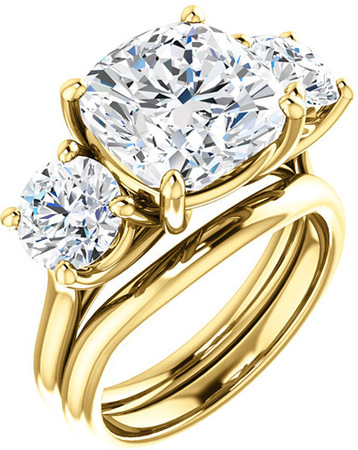 Three Stone Ring for Cushion Shape Centergem Sized 5.00 mm to 10.00 mm - Customize Metal, Accents or Gem Type