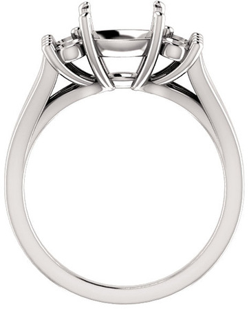 Cushion Ring Mounting With 4 Side Accents - Shape Centergems Sized 5.00 mm to 10.00 mm - Customize Metal, Accents or Gem Type