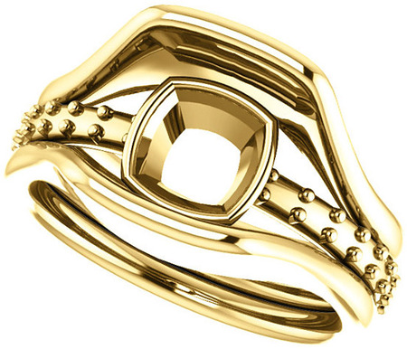 Triple Band Accented Bezel Set Ring Mounting for Cushion Shape Centergem Sized 5.00 mm to 10.00 mm - Customize Metal, Accents or Gem Type