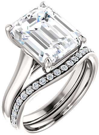 Thick Band Solitaire Ring Mounting for Emerald Shape Centergem Sized 6.00 x 4.00 mm to 12.00 x 10.00 mm - Customize Metal, Accents or Gem Type
