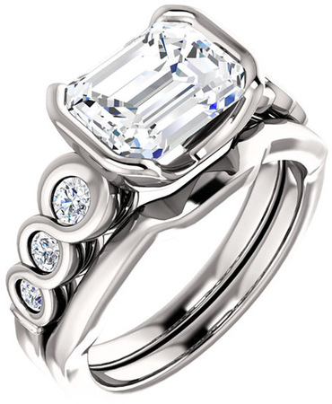 Chic Accented Engagement Ring Mounting For Emerald Shape Centergem Sized 6.00 x 4.00 mm to 9.00 x 7.00 mm - Customize Metal, Accents or Gem Type
