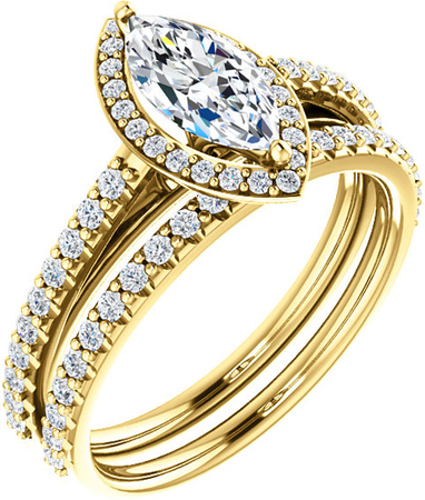 Marquise Halo Style Engagement Ring Mounting for 7.00 x 3.50 - 12.00 x 6.00 mm Center - Customize Metal, Accents or Gem Type