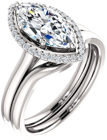 Marquise Halo Style Engagement Ring Mounting for 6.00 x 3.50 - 12.00 x 6.00 mm Center - Customize Metal, Accents or Gem Type
